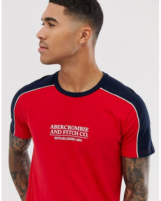 Abercrombie & Fitch Logo Shoulder Taping T-shirt In Red/navy for men