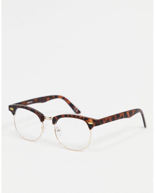 ASOS – Runde Retro-Modebrille in Brown für Herren