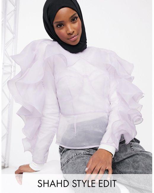 Top a maniche lunghe con volant e cuciture stile corsetto di ASOS in Purple