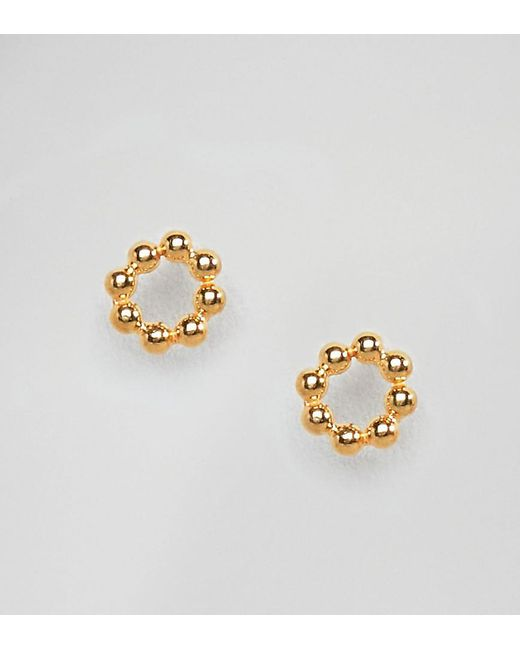 ASOS - Metallic Gold Plated Sterling Silver Ball Circle Stud Earrings - Lyst