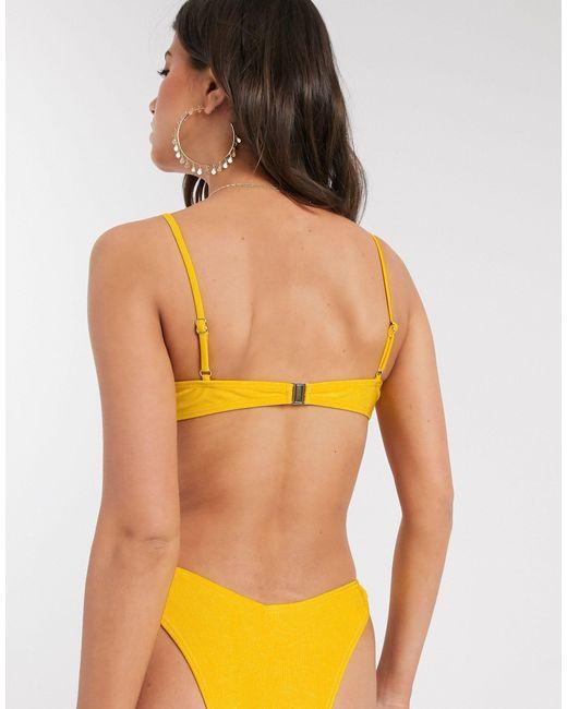 Эксклюзивный Желтый Бикини-топ От Комплекта В Рубчик На Косточках South Beach, цвет: Yellow