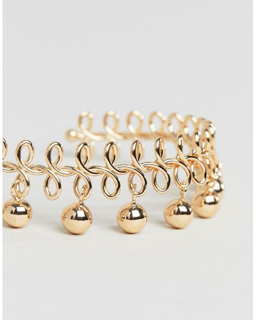 DESIGN Wire Wrapped And Ball Charm Cuff Bracelet - Gold Asos eQLuXHGrg