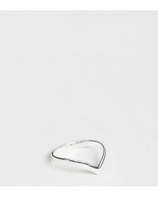 ASOS Metallic Sterling Silver Ring In V Shape