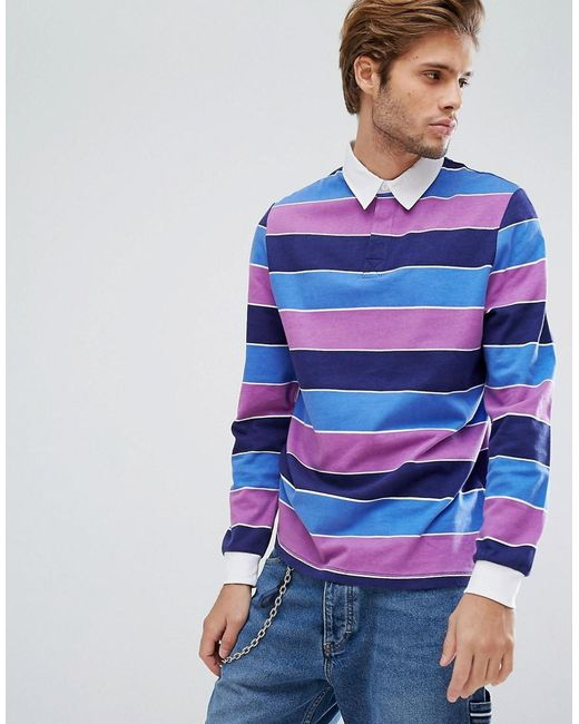 Asos Long Sleeve Rugby Polo With Block Stripe In