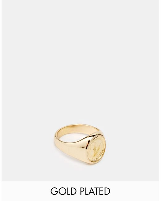 ASOS | Metallic Gold Plated Pinky Ring for Men | Lyst