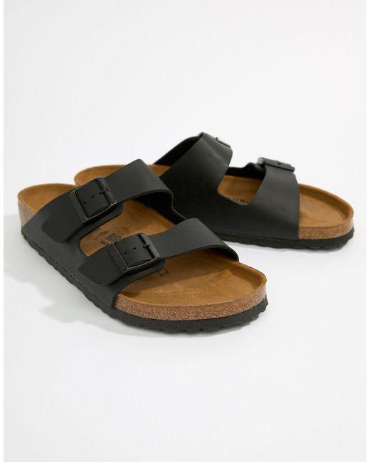 Черные Сандалии Arizona Birko-flor-черный Birkenstock для него, цвет: Black
