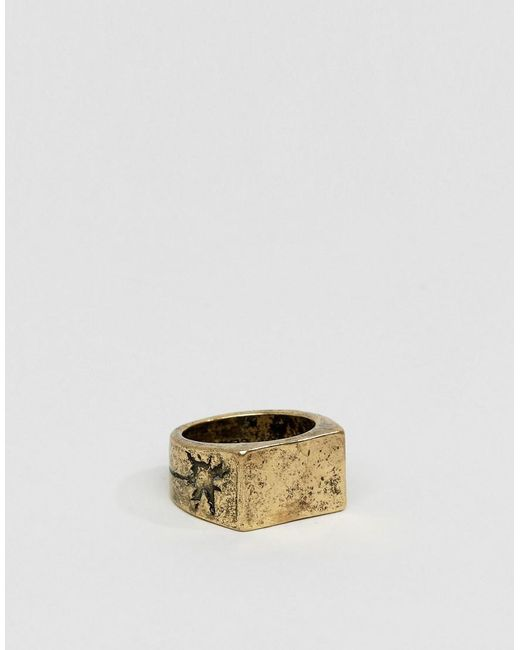 Classics 77 | Metallic Burnished Cross Band Ring In Gold for Men | Lyst