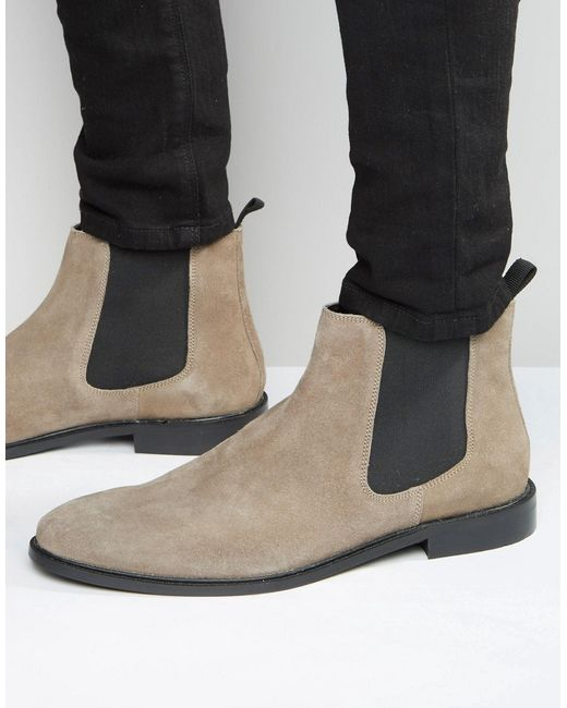 dune chelsea boot grey suede in gray for grey save