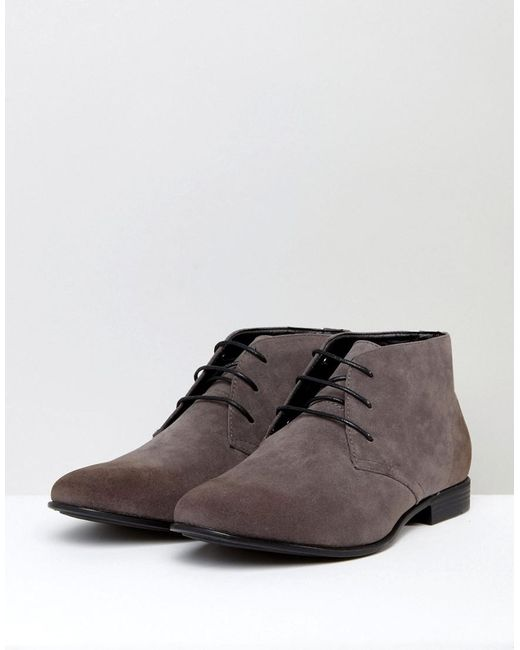 0ac6f09ce545 Lyst - ASOS Wide Fit Chukka Boots In Gray Faux Suede in Gray for Men