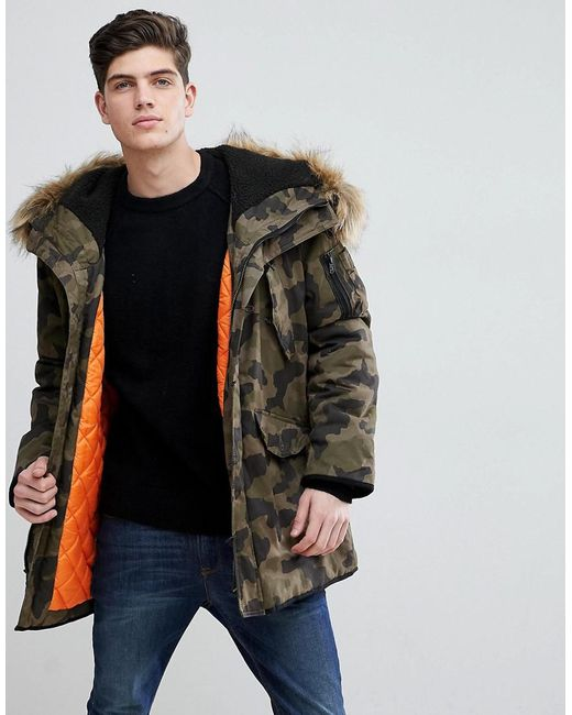 Mango - Green Man Padded Coat With Faux Fur Hood In Camo for Men - Lyst