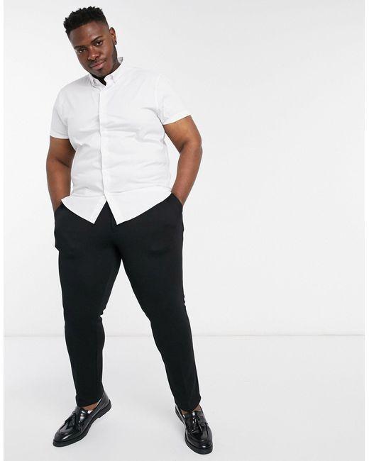 Big & Tall - Camicia slim elasticizzata a maniche corte bianca di Topman in White da Uomo
