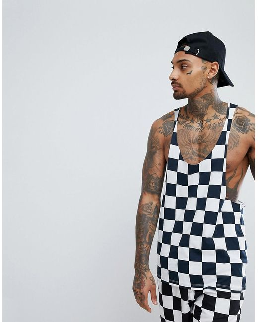 ASOS - Blue Asos Extreme Racer Back Singlet With Checkerboard Print Co-ord for Men - Lyst