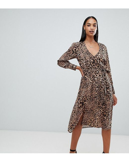 e00e453aabd2 Boohoo - Brown Long Sleeve Wrap Front Midi Dress In Leopard - Lyst ...