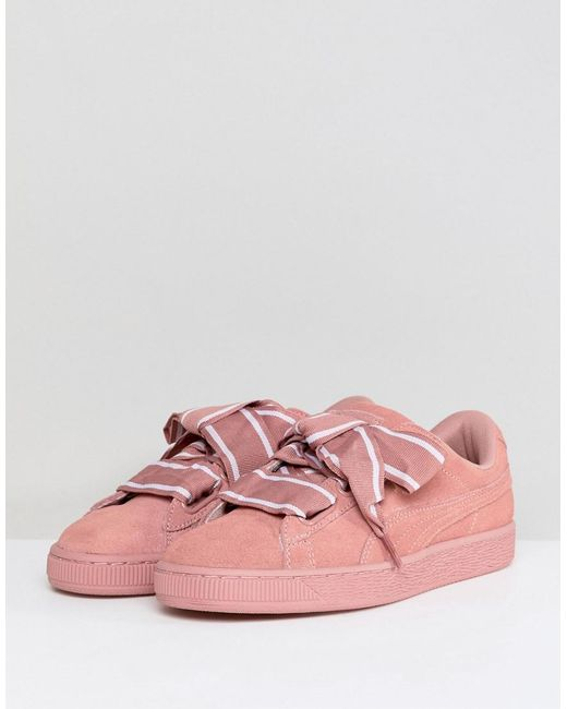 pretty nice f5d0a 0861f Basket Heart Satin Women's Shoes (trainers) In Pink
