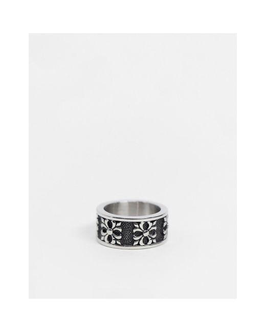 Серебристое Кольцо С Гравировкой -серебряный Seven London для него, цвет: Metallic
