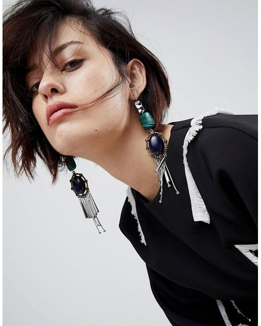 ASOS - Multicolor Statement Acrylic And Jewel Stick Earrings - Lyst