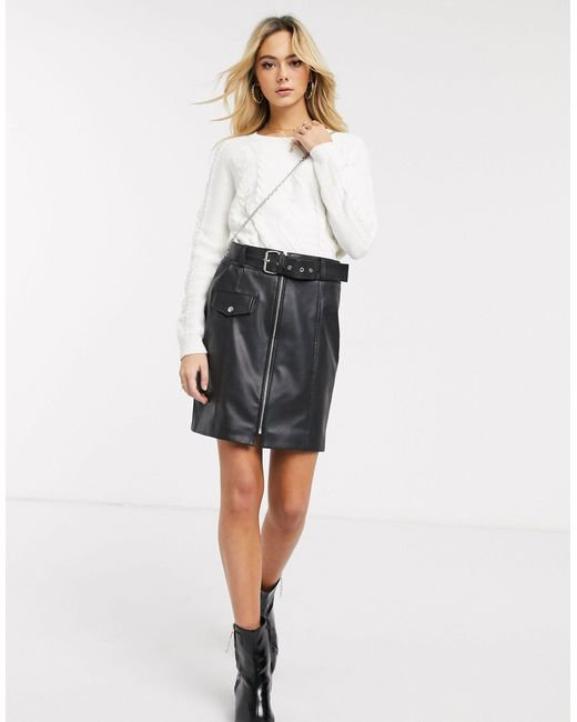 Pieces Black Leather Look Mini Skirt With Belt
