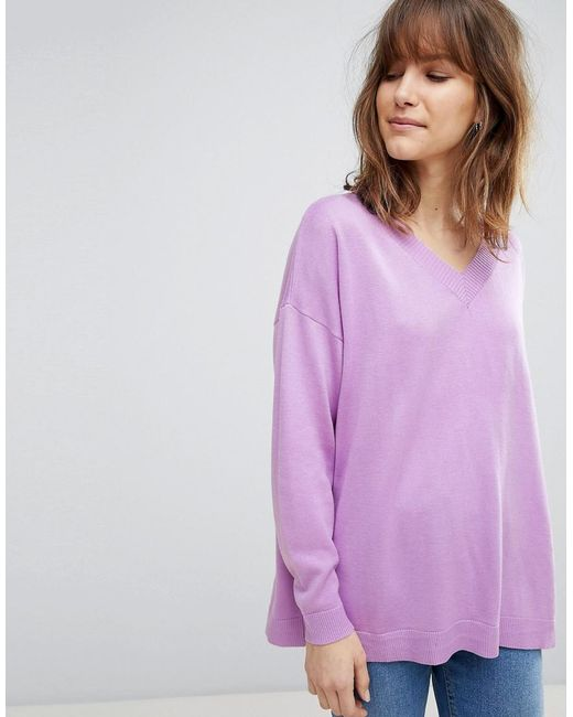 ASOS - Purple Oversized Jumper With V Neck In Eco Yarn - Lyst