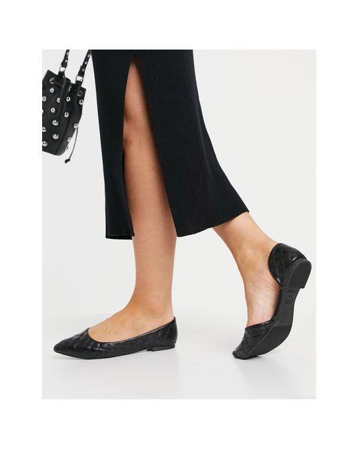 Черные Стеганые Туфли На Плоской Подошве С Заостренным Носом -черный Цвет New Look, цвет: Black