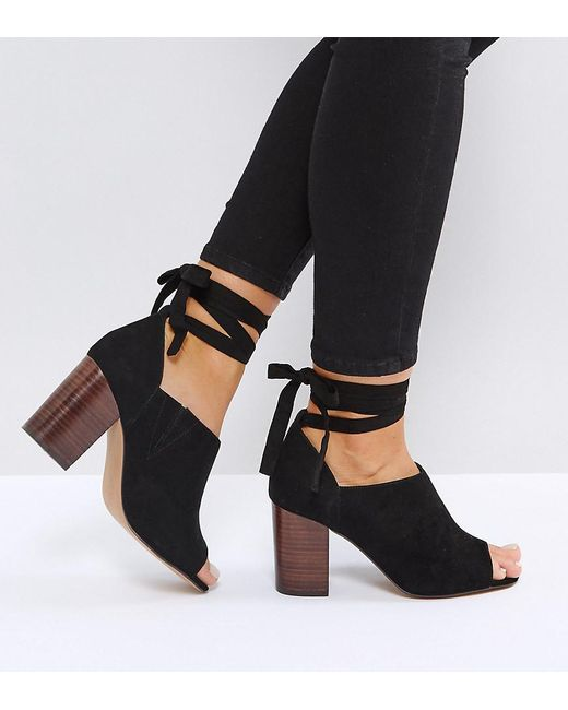 ASOS - Black Asos Omen Wide Fit Tie Leg Heeled Shoes - Lyst