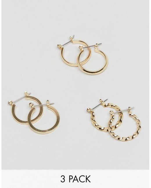 ASOS Metallic Pack Of 3 20mm Hoop Earrings In Gold
