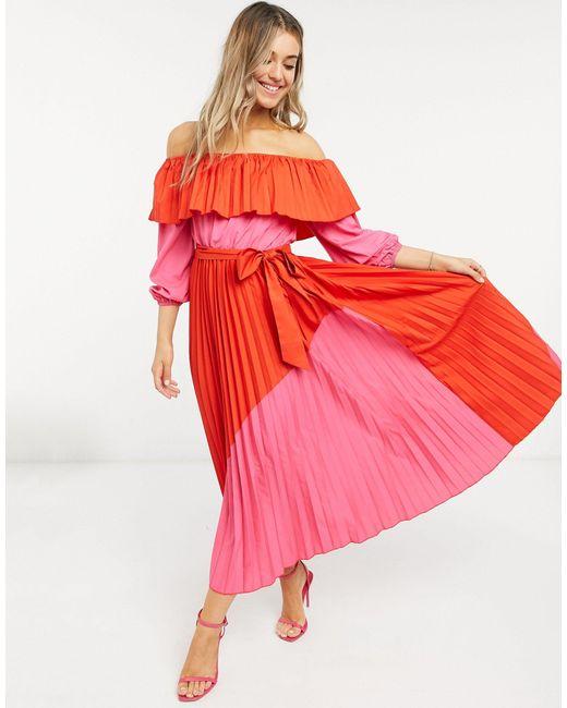 Красно-розовое Плиссированное Платье -мульти Never Fully Dressed, цвет: Red