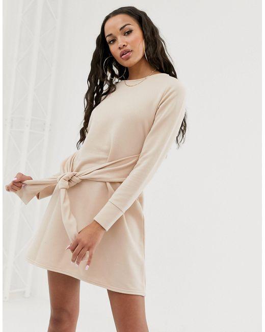 Бежевое Платье-свитшот С Поясом -коричневый Missguided, цвет: Brown