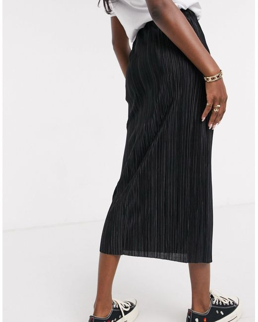 Черная Плиссированная Юбка Миди ASOS, цвет: Black