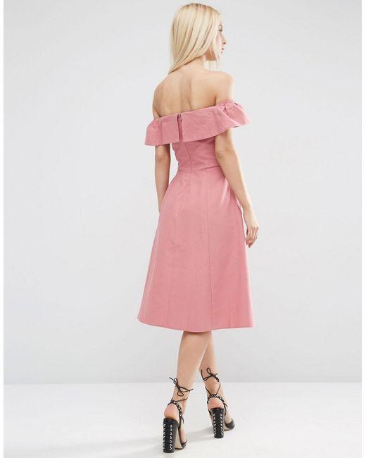Asos Off Shoulder Sundress In Natural Fibre In Pink