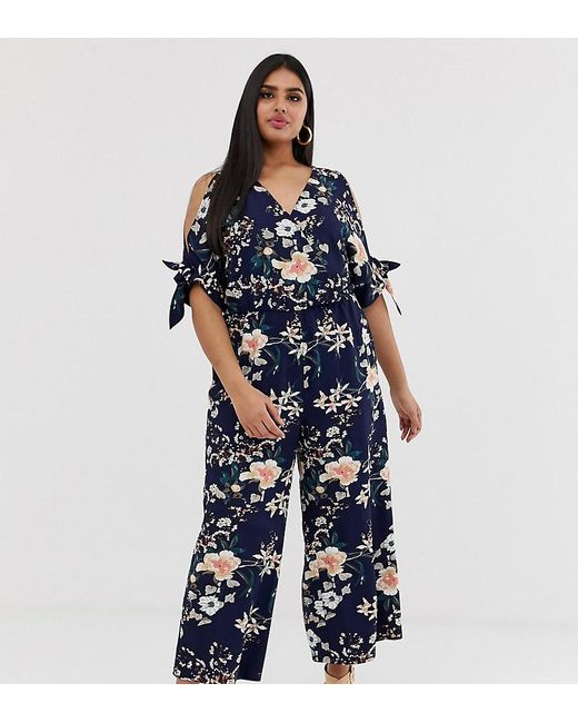 Simply Be Blue Cold Shoulder Jumpsuit In Navy Floral