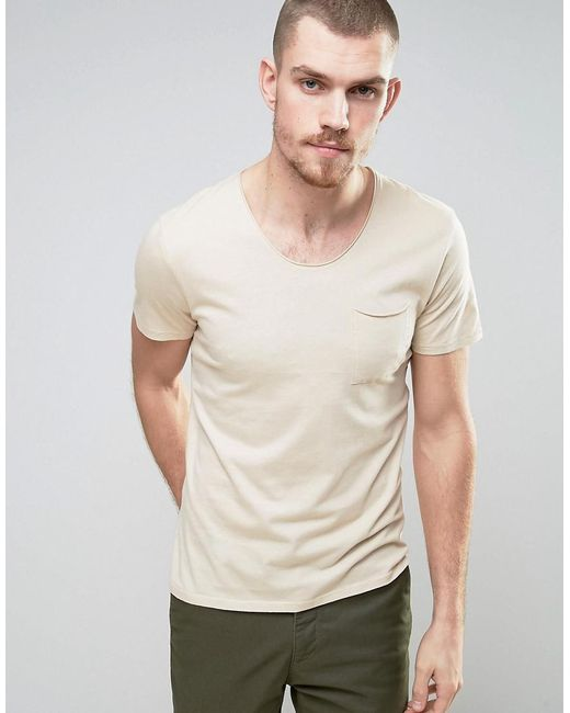 SELECTED | Gray T-shirt With Pocket for Men | Lyst