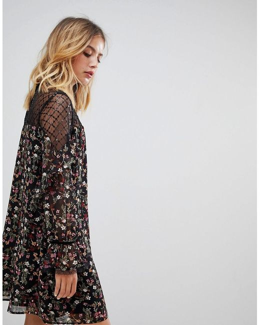 Lyst New Look Floral Smock Dress With Sheer Panels In Black