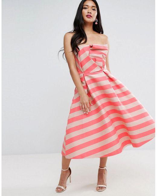 ASOS | Pink Stripe Bandeau Prom Midi Dress | Lyst