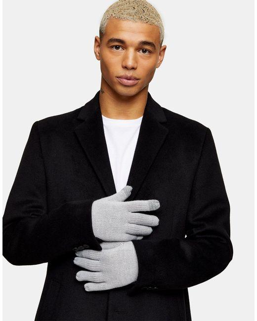 Светло-серые Перчатки Для Сенсорных Экранов -серый Topman для него, цвет: Gray