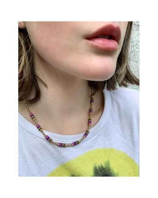 Золотистое Ожерелье С Цветными Бусинами ASOS, цвет: Metallic