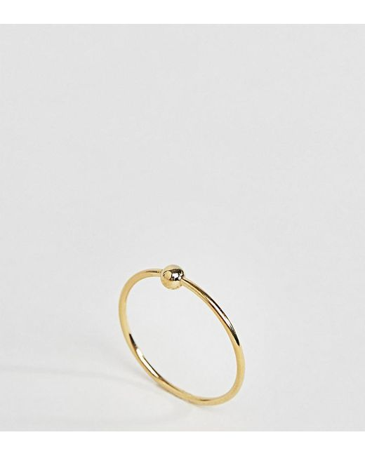 ASOS | Metallic Gold Plated Sterling Silver Ball Station Ring | Lyst