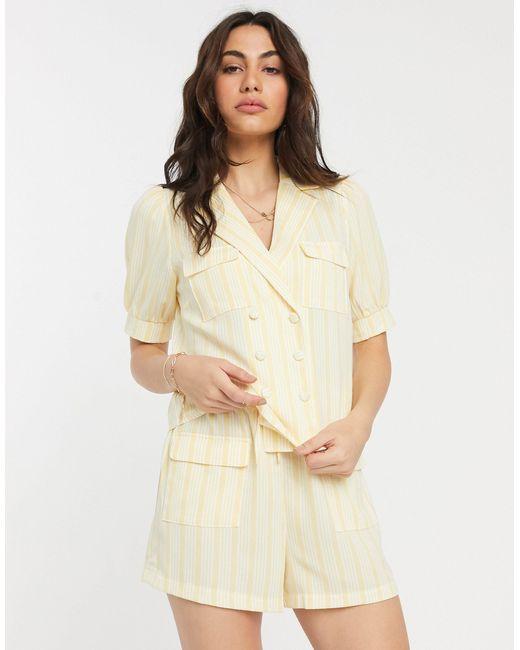 Двубортная Рубашка От Комплекта В Полоску -желтый Fashion Union, цвет: Multicolor