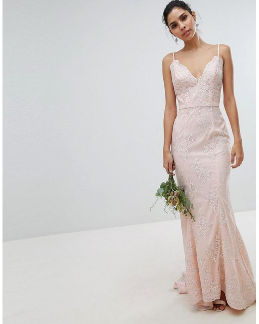 Bridal Premium Lace Maxi Dress With Fishtail In White