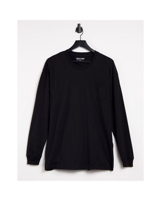 Core - T-shirt coupe carrée à manches longues Jack & Jones pour homme en coloris Black