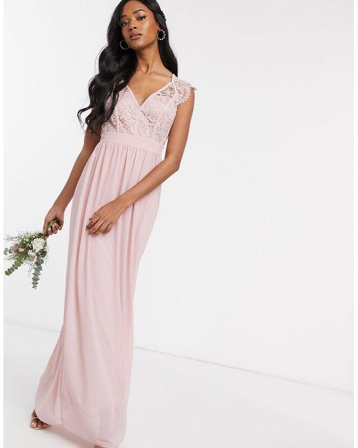 Розовое Кружевное Платье Макси С Глубоким Вырезом -розовый TFNC London, цвет: Pink