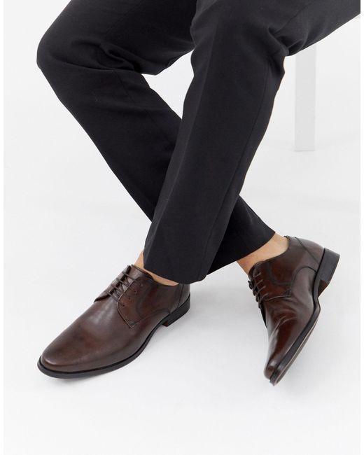 Коричневые Кожаные Туфли Дерби ASOS для него, цвет: Brown