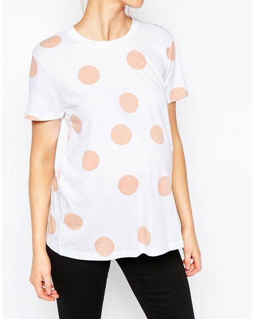 Asos Maternity Blush Spot T-shirt in White (Whitebase)