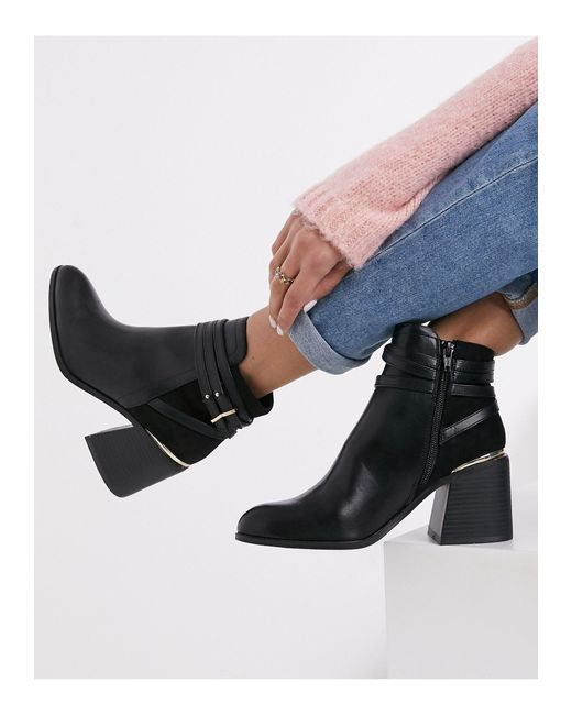 Miss Selfridge Black Heeled Chelsea Boots With Buckle Detail
