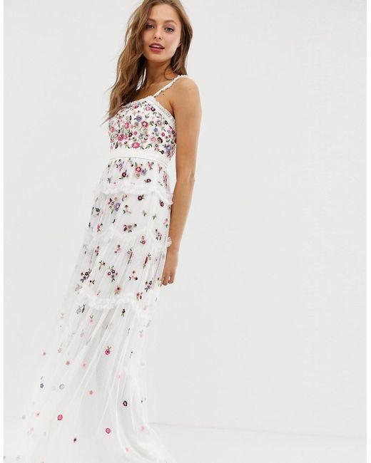189e60f7b0 Needle   Thread - White Allover Multi Embroidered Cami Strap Maxi Dress In  Ivory - Lyst ...
