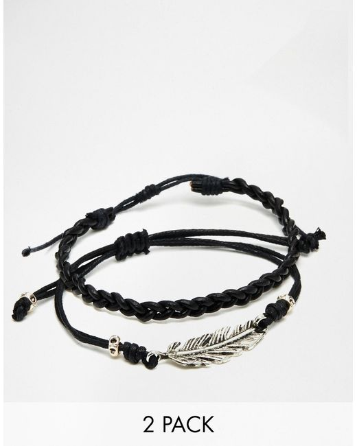 ASOS | Black Leather Bracelet Pack With Feather for Men | Lyst