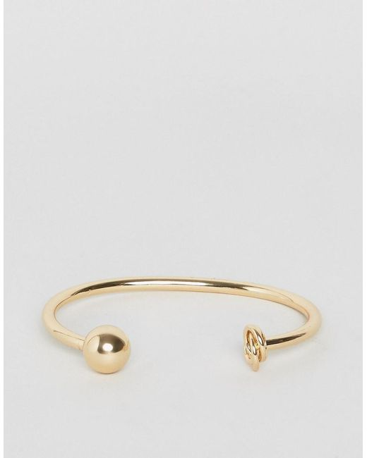 ASOS | Metallic Knot And Ball Cuff Bracelet | Lyst