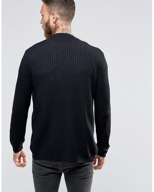Lyst Asos Cable Knit Cardigan With Rib Detail In Black For Men