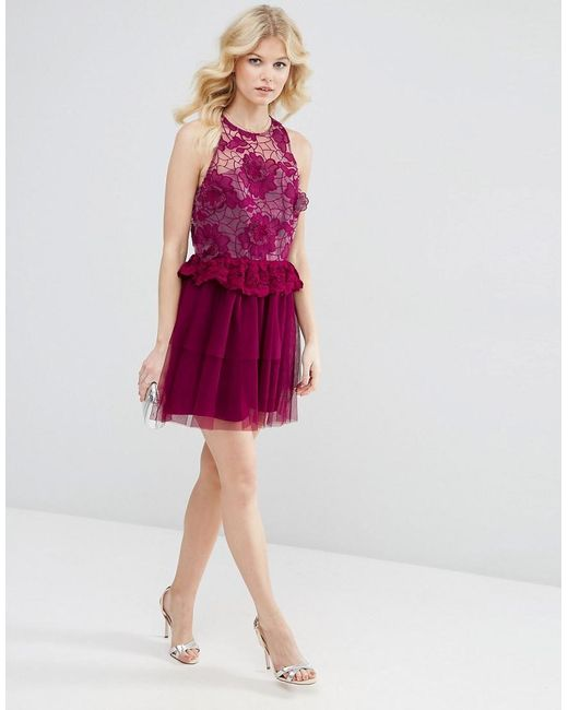 Asos d floral lace embroidered mini prom dress in pink lyst