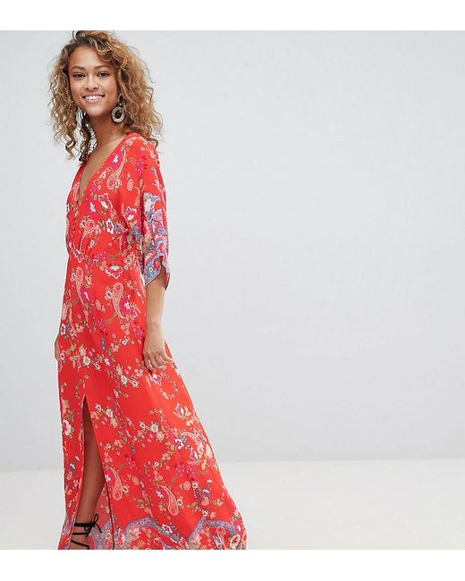 54f3ea93e Miss Selfridge - Red Kimono Sleeve Floral Printed Maxi Dress - Lyst ...