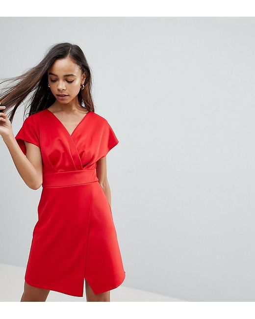 ASOS - Red Mini Cross Front Origami Dress - Lyst